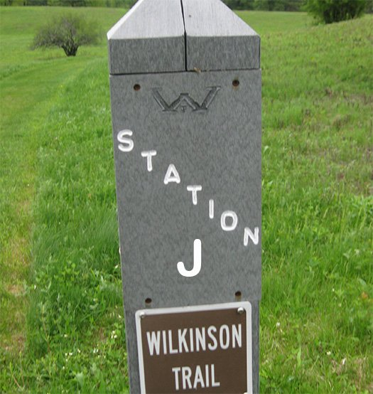 A trail marker post labeled Station J, Wilkinson Trail.