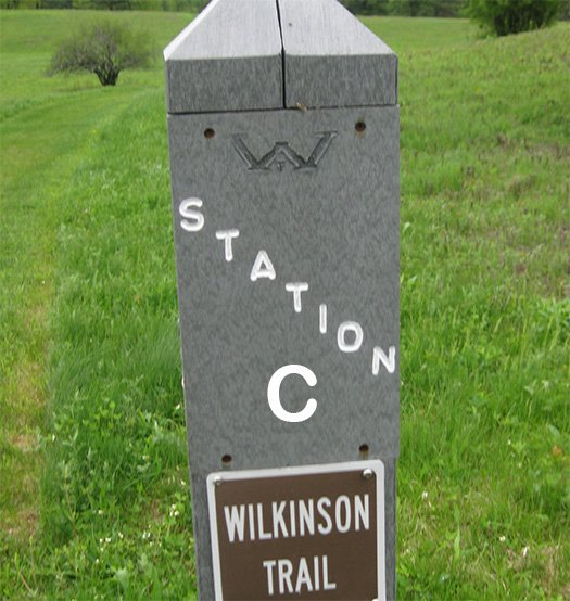 A trail marker post labeled Station C, Wilkinson Trail.